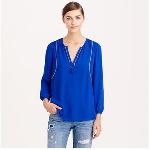J Crew Tassel Trim Top